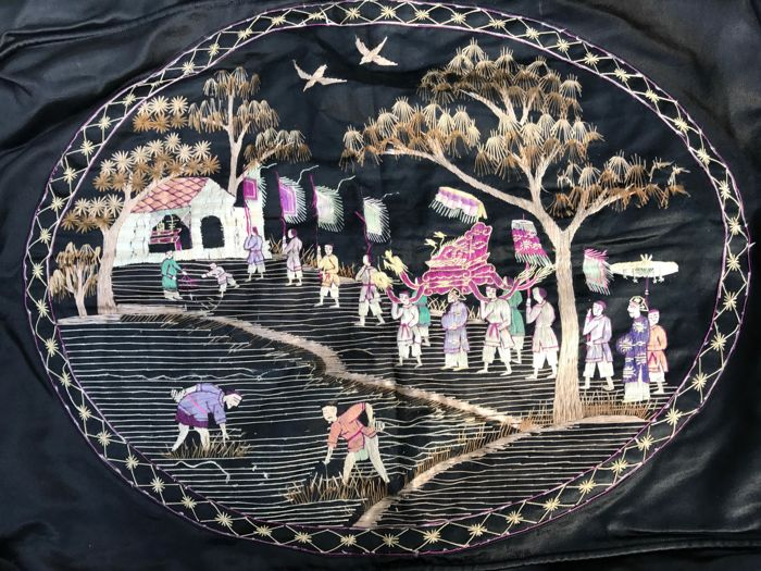 Embroidered Indochina Art Deco cushion cover