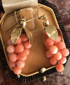 Gold earrings with momo coral