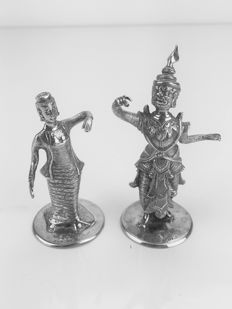 Set of two silver menu holders, Thailand, early 20th century.