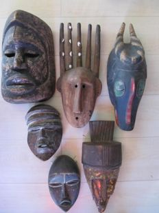 Africa, Ivory Coast and Congo - 6 different masks
