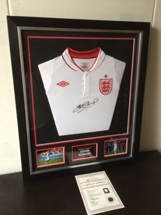Steven Gerrard - Hand Signed Autographed England Shirt + COA and Photoproof A1.