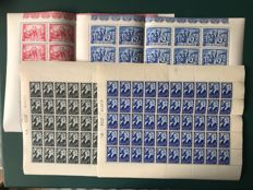 Belgium 1937/1945 - Ysaye and resistor in complete sheets - OBP 456/457 and 697/698