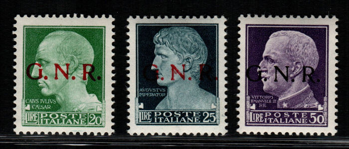 Italian Social Republic - 1944 - Overprints G.N.R. Sassone No. 487-89