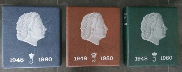The Netherlands - 1 cent through 2½ guilder coins, 1950/1980, Juliana (three complete collections excluding silver) in three Hartberger preprint albums