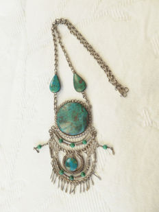 1970s - Chrysocolla set in filigree work on link necklace - marked 925