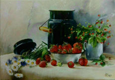 Nakonechniy Alexandr (1968)  -  Still life with strawberries and flowers