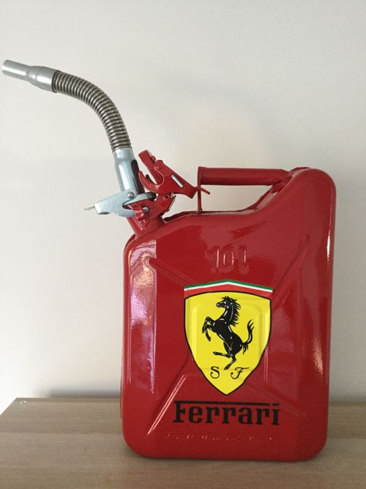 Metal jerrycan with Ferrari logo