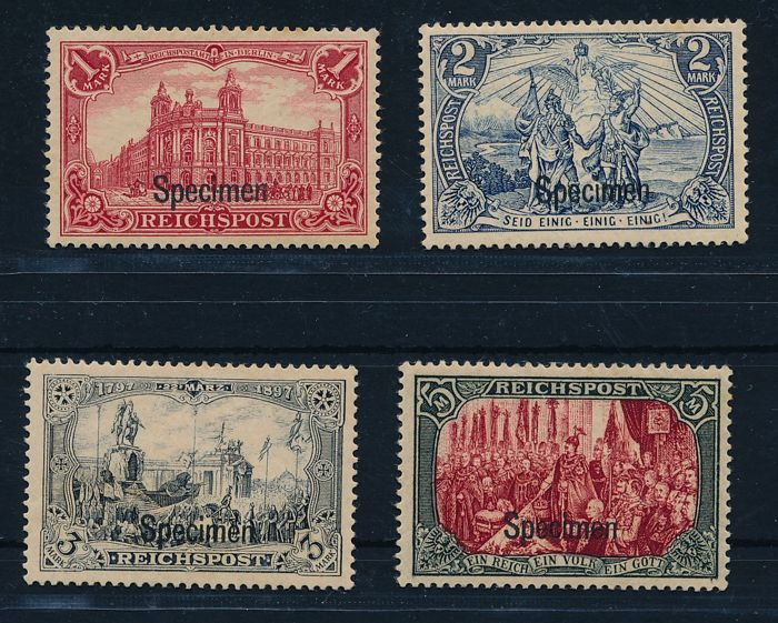 German Empire/Reich - 1900 - Germania  1 - 5 stamps Reich post with overprint 'Specimen', Michel 63 – 66 SP