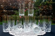 Lot of 12 chiselled ground crystal glasses, Saint Louis, France - ca. 1900