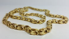 14 kt yellow gold king's braid necklace 65 cm.