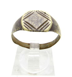 Ancient Roman bronze ring with Lozenge Shape on bezel - Wearable Gift with Gift Bag - 21 mm