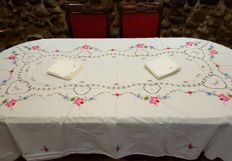 Antique large rectangular tablecloth hand embroidered in cross stitch, applications and crochet - 12 napkins - 250 x 160 cm