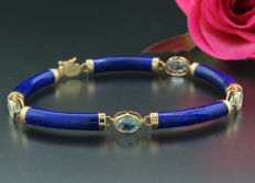 Lapis lazuli bracelet with oval facetted blue topaz, 585 yellow gold, 18.5 cm - no reserve price
