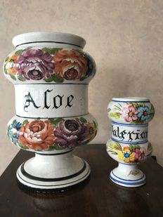 Pair of Albarelli Decorated Ceramic Vases for pharmacy, branded Bassano