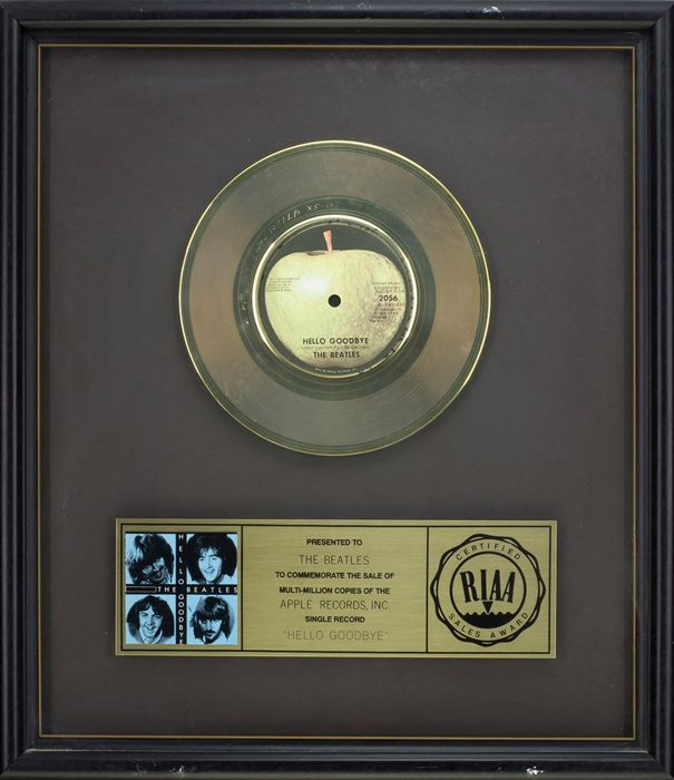 "The Beatles - Official RIAA Award - For the sale of multi million copies of ""Hello Goodbye"""