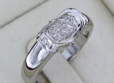 Jewellery ring in white gold and diamonds 0.40 ct – size 54