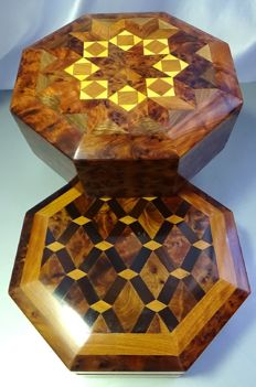Two fine boxes, carved and polished made of mahogany wood with lids ornamented with cedar and citron