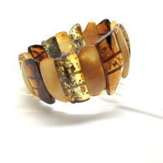 Wide cut natural Baltic amber cabochons bracelet (not pressed),  25-35 mm in width, 27.1 gr in weight - no reserve