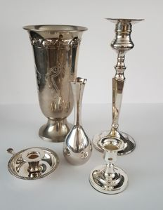 Lot silver-plated - candlestick - vase