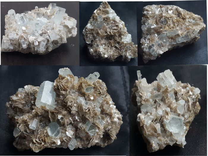 Aquamarine crystals in matrix with silver Muscovite - 5 to 7.2 cm - 240 g (5)