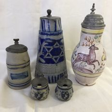 4 x blue stoneware lid cans with tin lid, including 1 faience lid can - Germany - 19th century