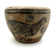 Indus Valley Painted Terracotta Jar with Birds Motif - 82x63mm