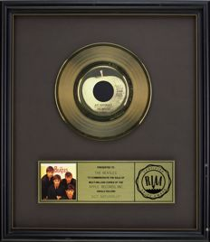 """The Beatles - Official RIAA Award - For the sale of multi million copies of """"Act Naturally"""""""