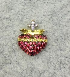 18kt Yellow Gold Womens Sacred Heart