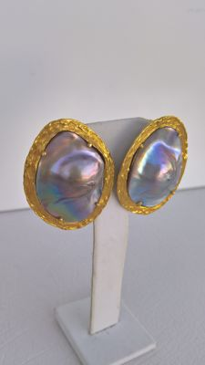 19,25 kt Gold Earrings – Mother-of-pearl (Pregnant) Hand-crafted, Unique Piece – New