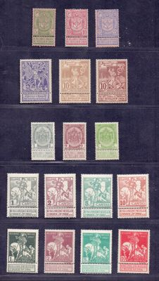 Belgium 1896/1910 - 4 complete series with coat of arms and Caritas - OBP 68-73 and 81-91