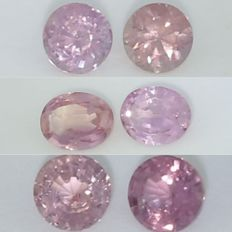 Set of 6 Sapphires  ( Padparadscha ) - 0.38 + 0.38 + 0.24 + 0.20 +  0.30 + 0.34  =  1.84 ct.