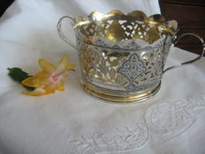 Russian USSR silver 875 basket candy sugar bowl, Niello, 20th century