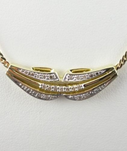 585 yellow gold - necklace - 0.20 ct - diamond - 7.54 g - 45 cm long