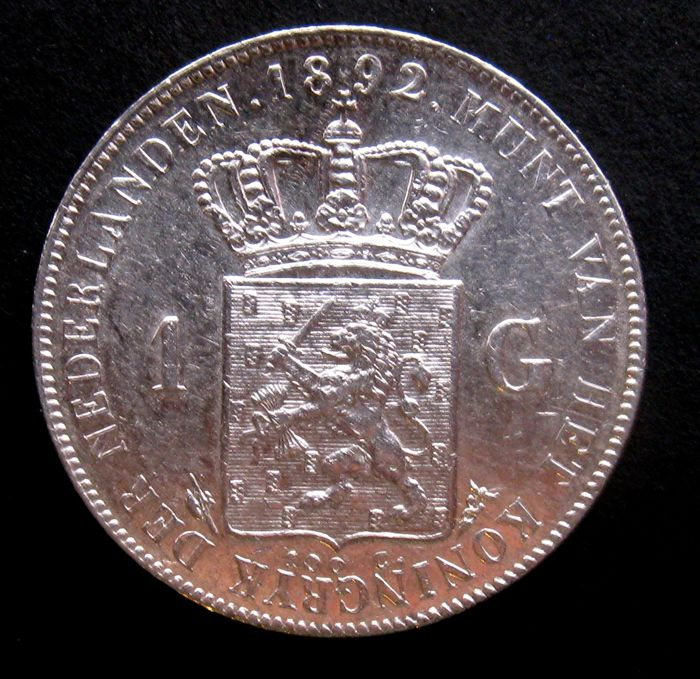The Netherlands - 1 guilder 1892, Wilhelmina - silver