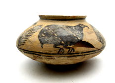 Indus Valley Painted Terracotta Jar with Birds Motif - 160x85mm