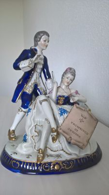 Richard Ginori Porcelain Figurine of a Man and Woman with Original Certificate