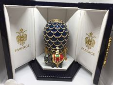 "Authentic Faberge Egg ""Blue Imperial Pine Cone Egg"""