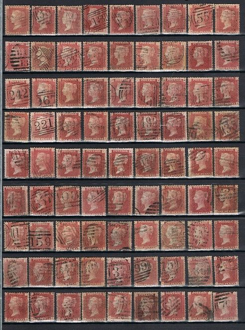 Great Britain 1864 - 179 Penny red Plates, Stanley Gibbons 43, 71/224