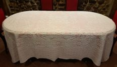 Tablecloth for 6/8 people in pink and white cotton damask - 245 cm x 175 cm
