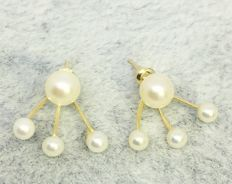 18kt Yellow Gold Cultured Pearls Flawless 2 in 1 Earrings
