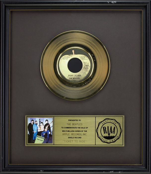 "The Beatles - Official RIAA Award - For the sale of multi million copies of ""Ticket to ride"""