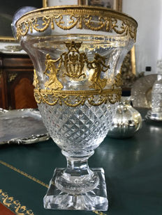 Cut crystal vase with gilt bronze decorations, France, Charles X period, ca. 1830