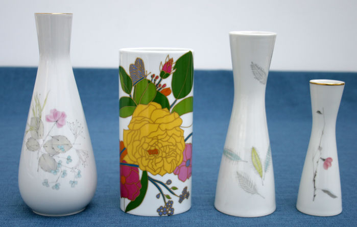 Rosenthal - four flower vases with flower, design i.a. by W. Bauer