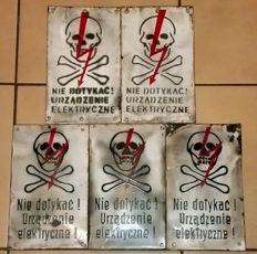 Poland Lot 5 pieces of enamel warning signs 1950-1970