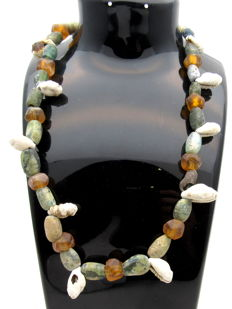 Viking Necklace with Coloured Glass Beads and Sea Shells  - 420 mm