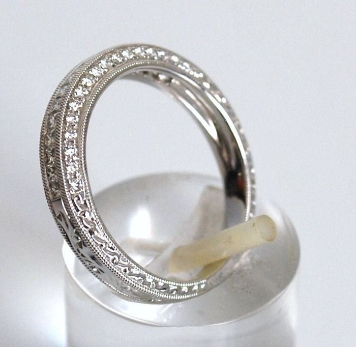 Ring in 18 kt white gold with diamonds, 0.52 ct - size 15