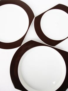 Joe Colombo and Ambrogio Pozzi for Alitalia (made by Richard Ginori) - 3 x Linea 72 ceramic plates