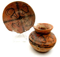 Indus Valley Painted Terracotta Cup and Plate with Deer Motif - 57x50mm (cup) 80x18mm (plate)