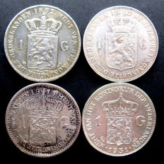 The Netherlands - 1 guilder 1892, 1907, 1913 and 1931 (4 different versions), Wilhelmina - silver