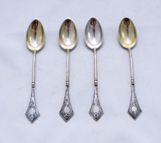 Decorated Teaspoons Set - 4 teaspoons - 875 silver - black enamel - niello - art deco - Russia - ca. 1940's